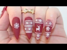 HOW TO: ❄️Matte Christmas Sweater Acrylic Nails❄ - YouTube