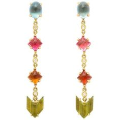 Preowned Semi Precious Stone Diamond Gold Drop Earrings ($3,000) ❤ liked on Polyvore featuring jewelry, earrings, dangle earrings, multiple, long drop earrings, pink dangle earrings, gold drop earrings, blue diamond earrings and drop earrings