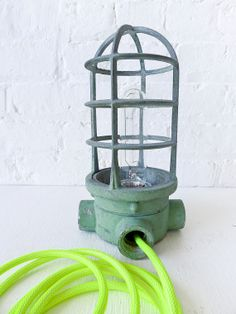 Industrial Light - Vintage Machine Age Industrial Cage Lamp w/ Neon Yellow Net Color Cord