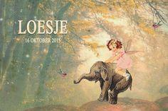 Geboortekaartje Loesje - sprookjesbos - Pimpelpluis https://www.facebook.com/pages/Pimpelpluis/188675421305550?ref=hl (# meisje - fee - elfje - olifant - vogel - magisch - olifantje - dieren - bos - sprookje - romantisch - origineel)