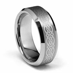 8mm Celtic Design Laser Engraved Men's Tungsten Wedding Band - Size 12. Free Exchange. Scratch Resistant. 100% Cobalt and Nickle Free. Comfort-Fit. Promptly Packaged with Free Gift Box and Gift Bag.