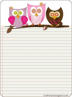 Printable Owl Lined Sheet Pinned by www.myowlbarn.com