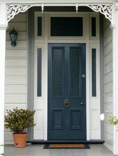Indigo blue front door entrance 41 Ideas for 2019 House Exterior, Weatherboard House, House Entrance, House Colors, Cottage Exterior, House, Painted Front Doors, Exterior House Color, House Entrance Doors