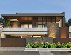 -un atam nagar option sur behance Modern Bungalow Exterior, Modern Exterior House Designs, Modern Small House Design, Modern House Facades, Modern Villa Design, Bungalow House Design, House Front Design, House Architecture Styles, House Elevation