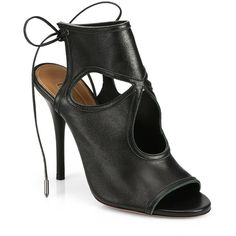 Aquazzura Sexy Thing Cutout Leather Tie-Back Sandals ($590) ❤ liked on Polyvore featuring shoes, sandals, booties, heels, apparel & accessories, leather heeled sandals, peep-toe shoes, ankle strap shoes, leather shoes and ankle tie sandals