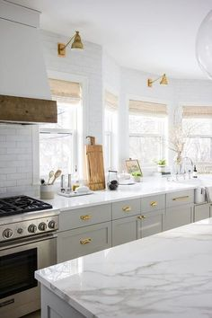Kitchen Bay Window with Farmhouse Sink - Transitional - Kitchen Kitchen Wall Cabinets, Kitchen Wall Tiles, Kitchen Flooring, White Cabinets, Kitchen Cupboard, Cupboards, Kitchen Storage, Modern Farmhouse Kitchens, Home Kitchens