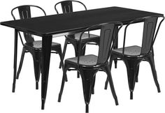Flash Furniture ET-CT005-4-30-BK-GG 31.5'' x 63'' Rectangular Black Metal Indoor Table Set with 4 Stack Chairs