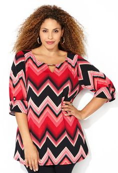 Chevron Metal Bar Top Plus size style in sizes 14-32 available online at avenue.com.