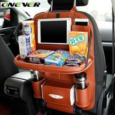 Onever Car Seat Back Hanging Organizer Bag Universal Auto Multi-pocket PU Leather Pad Cups Storage Holder Bag Foldable Shelf Car Seat Organizer, Hanging Organizer, Shelf Organizer, Design Autos, Leather Car Seats, Girly Car, Travel Stroller, Car Essentials, Car Accessories For Girls