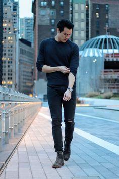 Shop this look! 1. Sweater - Trumaker Fellini sweater in Black. 2. Jeans - Rag & Bone FIT 1 JEAN – ROCK W. HOLES in Black. 3. Boots - FRYE Men's Jones Chelsea Boot in Charcoal. Follow me on Instagram! @aarontease