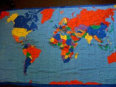 World map quilt by great quiltations travel theme nursery world map quilt gumiabroncs Image collections