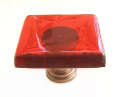 Red Glass Knobs   Colorful Glass Kitchen by UneekGlassFusions, $14.00