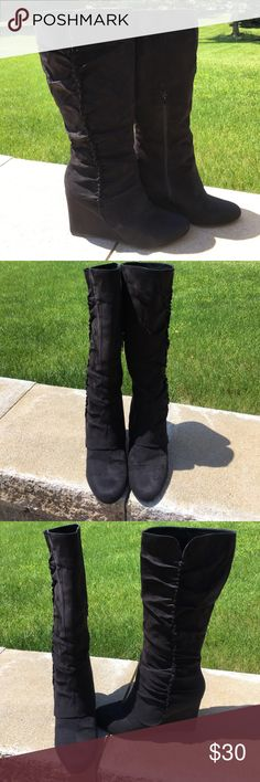 Leila stone black suede wedge boots Leila stone black suede wedge boots. Size 9 1/2. Like new! Lots of life left in them! Absolutely beautiful on!  Side zippers for easy on and off. leila stone Shoes Wedges