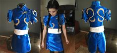 Skill Level: Novice  This is a detailed, step-by-step guide to help you create your own Chun Li costume from Capcom's Street Fighter with sewing and fabrication. For the easy version of a Chun Li costume, visit this guide. Dress and Bun Cover Tutorial This dress was made for a US size XS or S. P