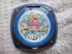 Vintage/Antique Sterling Enamel Blue Powder Compact