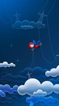 ↑↑TAP AND GET THE FREE APP! Art Creative Sky Stars Clouds Girl Blue Red HD iPhone 6 Plus Wallpaper