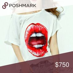 "💋""RED HOT LIPS""💋 Top 💋""RED HOT LIPS""💋 Short Sleeved Top White with Red.  Poly/Cotton Blend One Size Fits Most-Sizes U.S. S-XL Bust 48"" Length 26"" These are NWOT Retail items! All Sales are Final Per Poshmark. Please Read Description and Ask any and all Questions Prior to Purchase. I Want My Customers to be Happy!!Thank you!! Tops"