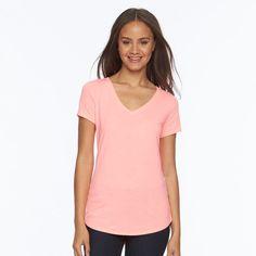 Juniors' SO® Short Sleeve V-Neck Tee, Teens, Size: Medium, Brt Pink