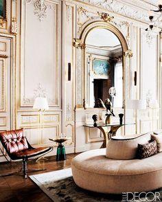 Perfect choice of an iconic Vladimir Kagan sofa to soften this restored Paris apartment's living room. Modern Homes - Paris Interiors - ELLE DECOR Home Design, Home Interior Design, Interior Decorating, Decorating Ideas, Decor Ideas, Interior Rugs, Design Design, Lobby Interior, Design Ideas