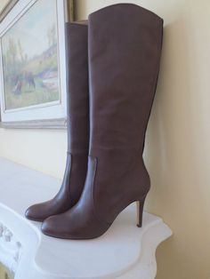 "I need these too. Lands' End Womens 3 1/2"" HighHeel Tall Brown Zipper Leather Boots Sz 7.5 Reg$199 #LandsEnd #FashionKneeHigh"