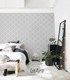 Gray Moroccan Wallpaper - Modern Pattern - Removable Wallpaper - Wall Covering - Wall Decal - Reusable - Wall Mural - Wall Decor - 48 Welcome to LenArte! I am so happy to offer easy to apply and completely repositionable wallpapers. Grey Moroccan Wallpaper, Mint Wallpaper, Accent Wallpaper, Geometric Wallpaper, Wall Wallpaper, Pattern Wallpaper, Hotel Room Design, Temporary Wallpaper, Rustic Home Design