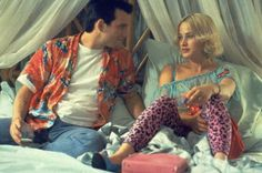 "CHRISTIAN SLATER AND PATRICIA ARQUETTE As Clarence Worley and Alabama Whitman in ""True Romance"" (1993)"