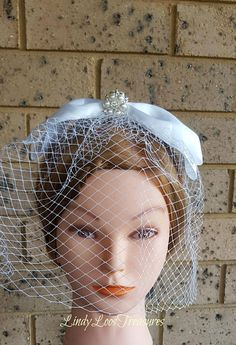 Pearl and Crystal Bow Birdcage Veil Fascinator Wedding