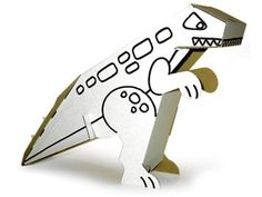 Get the children to colour in a cardboard dinosaur. A great little craft to do with the children but also a lovely party favour to take home.  #dinosaurparty #dinosaurcraft