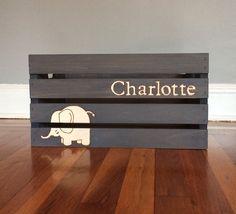 Elephant Nursery Decor Elephant Nursery Crate by TishieMDesigns, $47.00