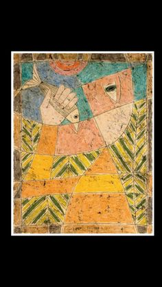 """Victor Brauner - """" Le pêcheur """", 1957 - Encaustic with pen and ink and wax on paper laid down on board - 65,4 x 50,2 cm"""