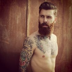 Levi Stocke being beautiful - full thick beard and mustache beards bearded man men mens' style hair hairstyle tattoos tattooed model handsome  #goodhair #beardsforever