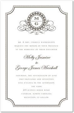 Fine Monogram - Thermography Wedding Invitations - Jenny Romanski - White : Front
