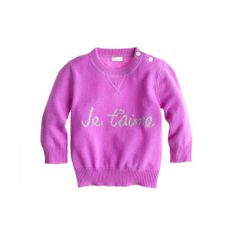 Cashmere Je T'aime Baby Sweater, J.Crew.