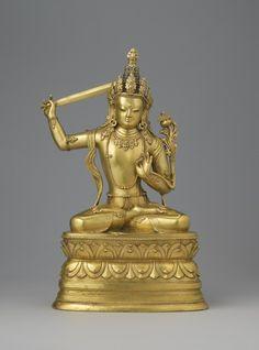 century, Mongolia, Manjushri, gilt copper alloy, photo by Rossi & Rossi. Buddha Life, Buddha Buddhism, Tibetan Buddhism, Buddhist Art, Oriental, Tibetan Art, World Religions, Religious Icons, Asian Art