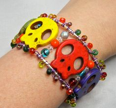 Quirky and Fun Skull Cuff, Dia de los Muertos. #dteam