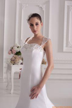 Maßgeschneiderte Brautkleider aus Satin und Spitze Meerjungfrau mit Schleppe