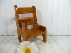 Primitive Doll Size Wooden Arm Chair Desk - Vintage Hand Crafted Rustic Seat - Petite Chippy Honey Stained Bench - Wood Work Shop Photo Prop $42.00  by DivineOrders