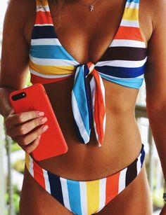 65 super ideas for clothes summer bathing suits Striped Bikini, Floral Bikini, Bandeau Bikini, Bikini Swimwear, Summer Bathing Suits, Cute Bathing Suits, Summer Suits, Crochet Summer Dresses, Summer Dress Patterns