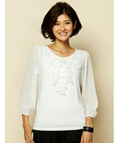 ラッフルフリルシフォントップ(Tシャツ/カットソー)|FABIA(ファビア)のファッション通販 - ZOZOTOWN