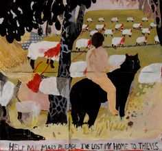 """Jon CampbelL, 2014. """"Crying Wolf."""" Acrylic on paper. 73.2"""" x 78.7."""""""