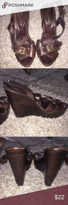 """BCBG MaxAzria Leather Wedges!! These rare brown wedges with tarnished gold hardware are in excellent condition. All leather upper and leather sole. Adjustable buckles on the outside of each shoe. Heel is 5"""". Beautiful shoes. BCBGMaxAzria Shoes Wedges"""