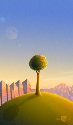 Tree on a hill at dusk - Digital Illustration by Heather Marinez