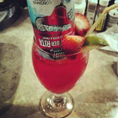 strawberry margarita with budlight strawberrita and tequila soaked strawberries. YUM!
