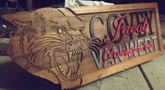 Cougar Plaque custom carved / solid wood / by CarvedArtStudio511, $95.00