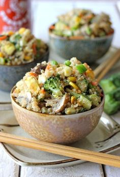 Vegetable Fried Quinoa Recipe  Ingredients:  2 cups quinoa, uncooked, soaked & rinsed 4 cups water or vegetable broth 3 Tbsp coconut oil 1/2 cup green onions, diced 1/2 cup mushrooms, chopped 1 cup zucchini, chopped 5 cloves garlic, minced 1 bag frozen mixed veggies 1/2 cup bok choy, chopped 1 cup broccoli, steamed 4 Tbsp tamari or nama shoyu Sea salt and pepper to taste