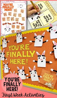 Back to school activities, anchor chart, craft, and bulletin boards for a full and FUN first week of school! Based on the most perfect first day of school book ever, You're Finally Here! by Melanie Watt, it includes getting to know you games, writing activities for goal setting, introducing journals, and a beginning of the year writing sample. Also includes a first day photo booth, desk notes, and more! For 1st, 2nd, 3rd grade.