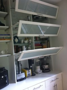 Maybe not the doors but closed appliances and put spices and baking on top  for pantry: bottom deeper than uppers allows for a counter