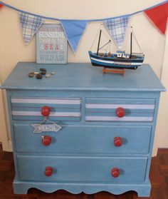 Shabby sea weathered look.  Vintage hand painted chest of drawers in a seaside/nautical style. Individually designed and absolutely unique! on Etsy, $205.60
