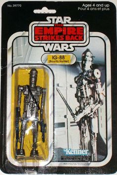 "The action figure for IG-88, a bounty hunter droid from the ""Star Wars"" line of toys for ""The Empire Strikes Back"""