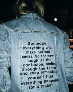 Words of Wisdom on the back of a denim jacket. #style #trend #FW17
